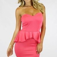 Peach Peplum Strapless Dress