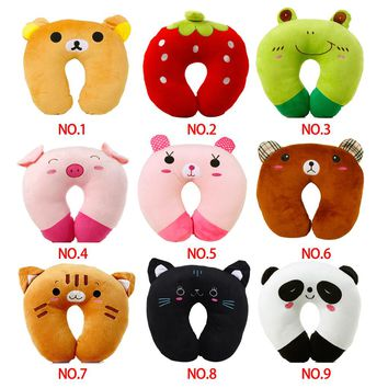 U-shaped Cartoon Animal Plush Travel Pillow for Kids