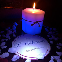 Real Flame LED White Octagonal Pillar Candle Changing Colors. Perfect for Mother's day, birthday, babyshower, weeding, etc.