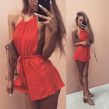 Cool Halter Sleeveless Bandage Backless Jumpsuits