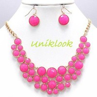 Hot Pink Bubble Deco Gold Elegant Chunky Fashion Jewelry Necklace Earring Set
