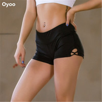 Stretch Solid Athletic Shorts Cross Side Tie Dance Yoga Shorts