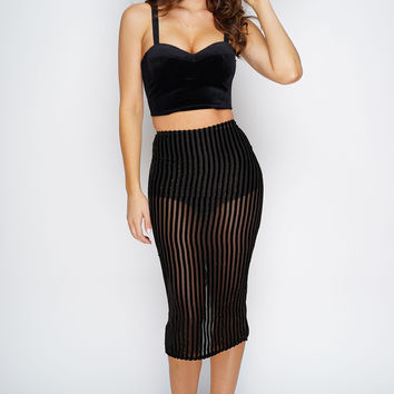 Faith Velvet Midi Skirt - Black/Gold