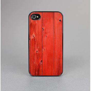 The Red Highlighted Wooden Planks Skin-Sert Case for the Apple iPhone 4-4s