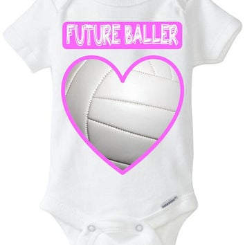Future Baller Volleyball Heart Baby Shirt! Funny Baby Girl Gift, great for Sports Baby Girl! Embellished Gerber Onesuit brand bodysuit