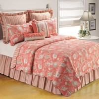 Natural Shells Bedspread in Coral