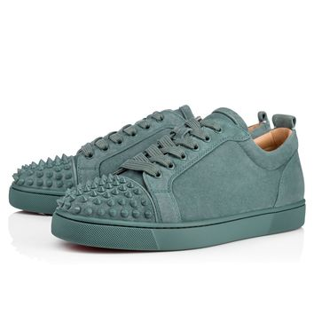 Christian Louboutin Cl Louis Junior Spikes Men's Flat Everest/everest Mat Suede 18s Sneakers - Best Deal Online