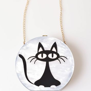 Ivory Mother Of Pearl & Black Mod Cat Round Hard Clutch