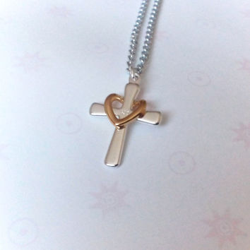 religious, Cross, necklace, Christian, jewelry, jewellery, gold heart, cross necklace, sister, gift, mother, grandma, grandmother, mom