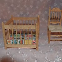Doll House Wood New Baby  Playpen with Chair