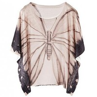Butterfly Print Batwing Sleeves T-shirt - ROMWE