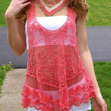 Sleeveless Sheer Lace Tank Top