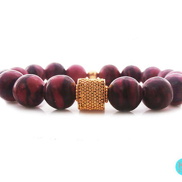 Red Turquoise and 22 Carat Gold Vermeil Granulation Cube Bracelet, Red Turquoise and 22 carat Gold Vermeil 12mm Bali Bead Bracelet