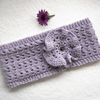 FREE SHIPPING,Knit Lace Headband in Lilac, Crochet Flower,Cotton Headband,Spring Summer,Hair Wrap,Wide,Handmade Turban,Knit Women Accessory