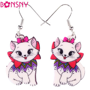 Bonsny DropLong Acrylic Dangle Brand Bijoux Animal Jewelry Cat Cartoon New 2016 Girls Women Cat Earrings  Accessories