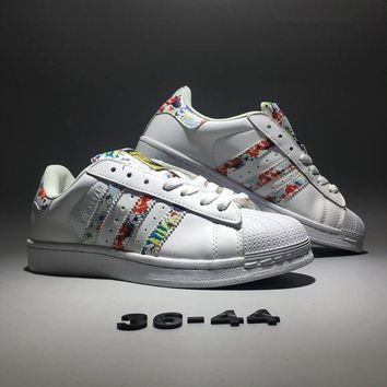 """Adidas Originals Superstar ll"" Unisex Classic Casual Fashion Multicolor Stripe Shell Head Plate Shoes Sneakers Couple Small White Shoes"