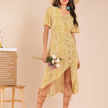 Ditsy Floral Button Front High Low Tea Dress