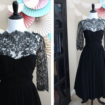 Vintage 1940's Black Lace Sleeved Cocktail Dress + SMALL