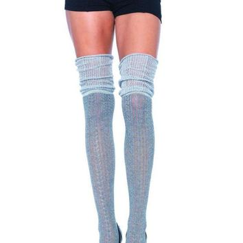 Acrylic Pointelle Over The Knee Scrunch Sock In Grey