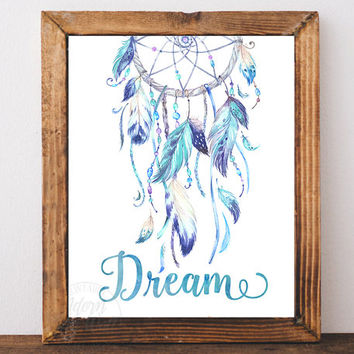 Dreamcatcher print, dreamcatcher art, dream catcher, printable art, tribal print, nursery wall art, instant download, blue, poster, wall art