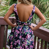 Pebble Beach Black Floral Dress