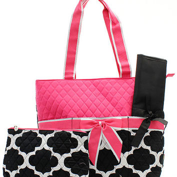 Personalized Black and Pink Geometric Diaper Bag with Changing Pad Zig Zag Diaper Tote Chevron Quilted Diaper Bag New Born Baby