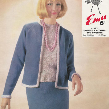 1960's Twin Set And Jumper | Vintage Paper Knitting Pattern | 32 To 40 Inch Bust | Emu 2170