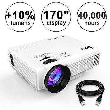 "4Inch Mini Projector with 170"" Display - 40,000 Hour LED Full HD Video Projector 1080P,"