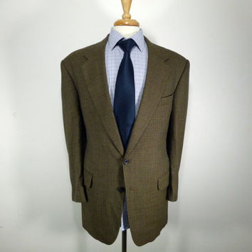 Vintage mens blazer sport coat jacket 70's 80's  by Oscar De La Renta  Brown Houndstooth Wool  46 46L