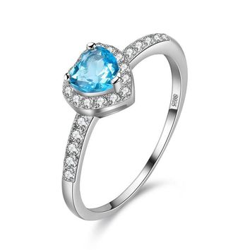 Heart Blue Zircon Wedding Rings for Women