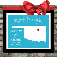 Oklahoma Map. ANY State Art. Personalized Wedding Gift. Custom Wedding Location State Map Print. 8X10 Unique Gift For Couples Anniversary
