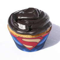 Superman - Inspired Man of Steel Cupcake Wrapper (Instant Download)