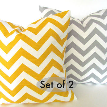 SET Of 2 -CHEVRON PILLOWS 16x16 Grey Yellow Throw Pillow Covers 16 x 16 Decorative pillow missoni Fabric front & back