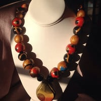 """African Necklace Jewelry, Beautiful Handmade Polymer clay Beads. 18k Gold Filled Lobster Claw Clasp size 29"""" inches a perfect length"""