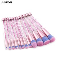Glitter Crystal Makeup Brush Set 12pcs Professional Highlighter Brushes Concealer Make Up Tool Rose Gold Portable Mermaid Brush