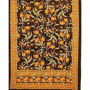 """Handmade 100% Cotton Floral Print Tablecloth Tapestry Coverlet Spread 70""""x106"""" Black Amber"""