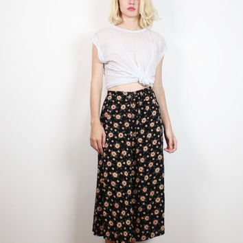 Vintage 1990s Skirt Black Pink Beige Ditsy Floral Midi Skirt Boho Soft Grunge Daisy Knee Tea Length Hippie Skirt 90s Skirt S Small M Medium