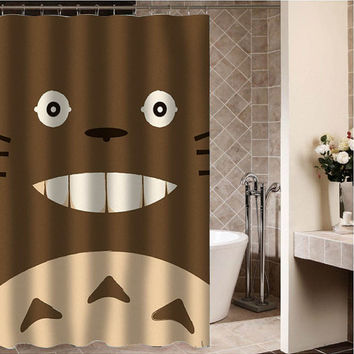 "Totoro face Custom Shower curtain,Sizes available size 36""w x 72""h 48""w x 72""h 60""w x 72""h 66""w x 72""h"