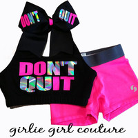 "Neon & Rainbow Metallic ""DON'T QUIT"" Set - Includes Sports Bra, Shorts and Bow"