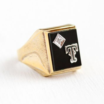 T Signet Ring - Vintage Gold Wash Over Sterling Silver Black Onyx Genuine Diamond Statement - Retro 1960s Size 9 1/2 Initial Men's Jewelry