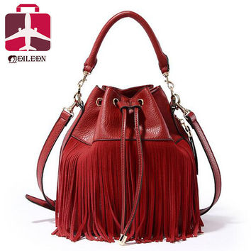 Small bucket women tote bag 2016 tassels genuine leather bag women messenger bags famous brand designer handbags high quality
