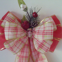 Christmas Plaid Country Bow Wreath Stair Rail Door Mailbox Tree Topper
