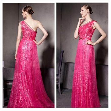 Pink Half Shoulder Sequined High Waisted Maxi