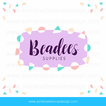 OOAK Premade Logo Design - Bead Banner - Perfect for a jewelry supplies shop or a DIY projects blogger
