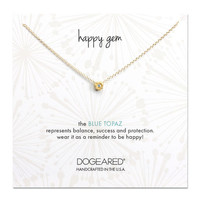 happy gem blue topaz flower necklace, gold dipped, 16 inch