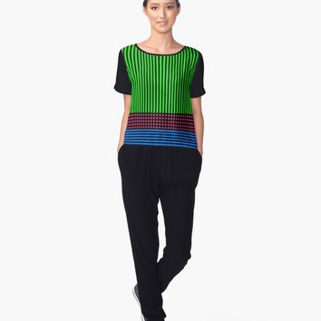 'Green Fuchsia and Blue with Black Stripes' Women's Chiffon Top by Greenbaby
