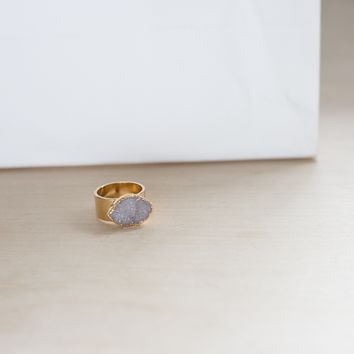 Ready Made White Oval Druzy Ring (size 6 1/2)