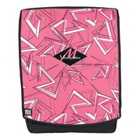 White and Black Zigzags on Pink Backpack