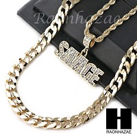 "MENS ICED OUT BLING SAVAGE PENDANT DIAMOND CUT 30"" CUBAN CHAIN NECKLACE SET G32"