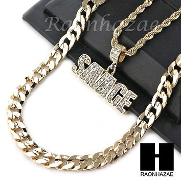 "MENS BLING SAVAGE PENDANT DIAMOND CUT 30"" CUBAN CHAIN NECKLACE SET G32"